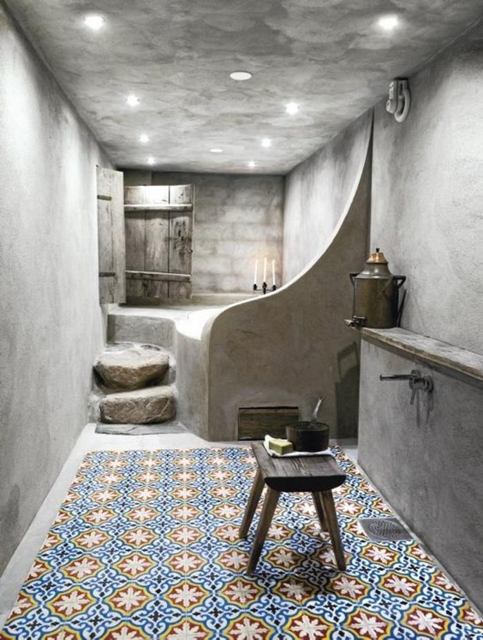 gris perle peinture salle de bain type hammam au carrelage mosaique coloré nuances vives plafond nuancé