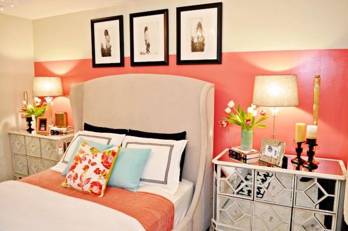 quelle couleur avec rose corail et beige décoration chambre à coucher