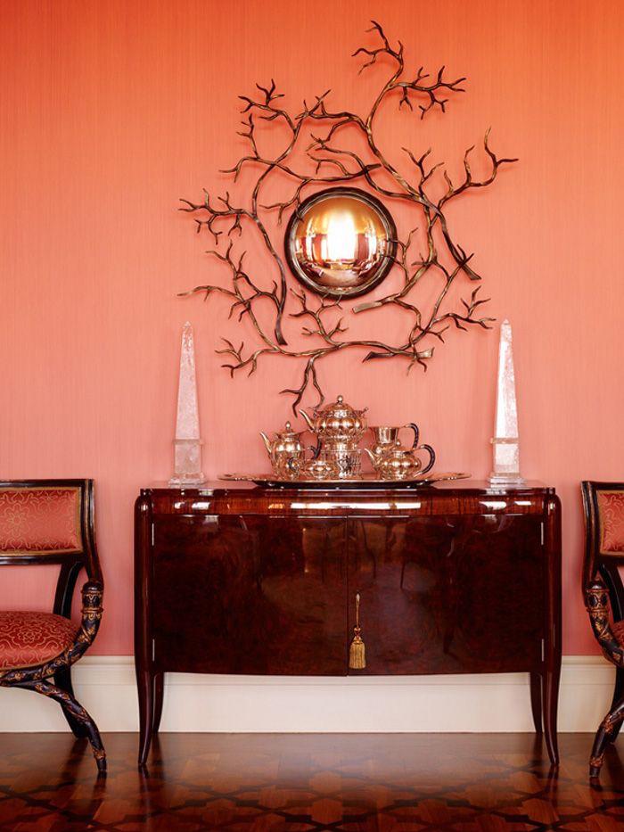 choisir peinture rose corail pour murs exemple déco