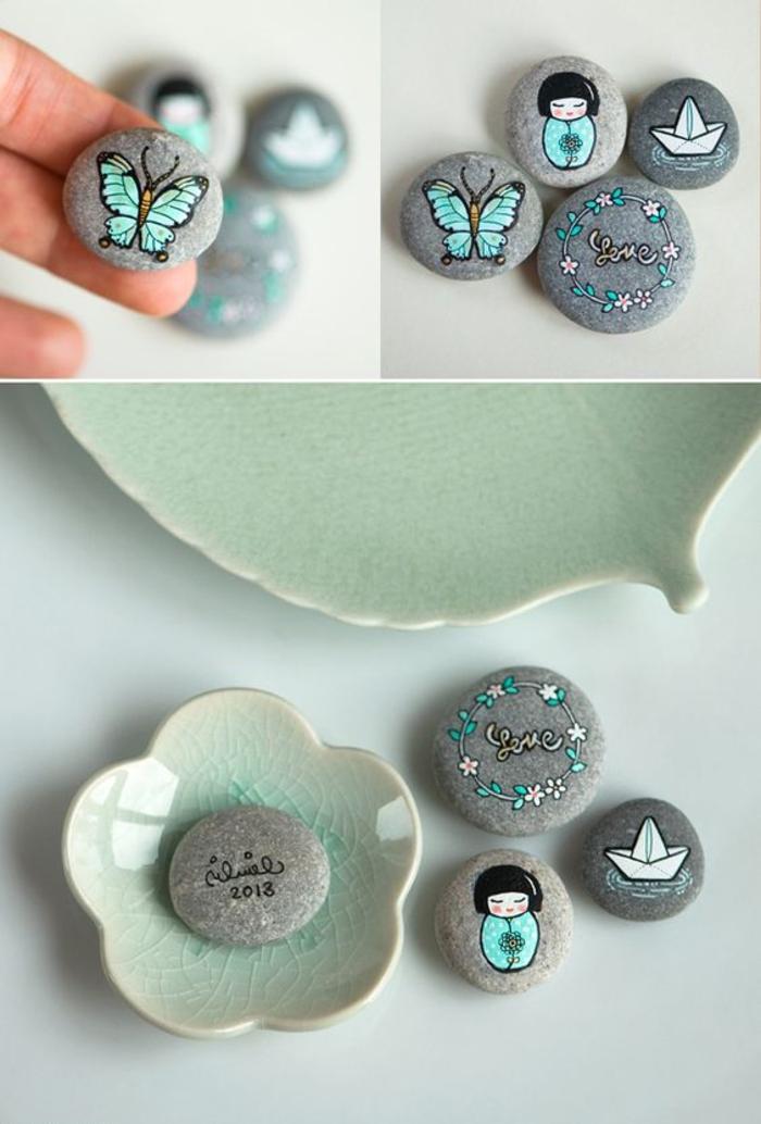 jolis dessins couleur vert menthe à l eau sur galets plats gris, activité créative amusante pour adultes et enfants