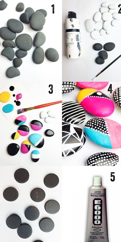 tutoriel facile pour réaliser des galets peints magnétiques au design varié