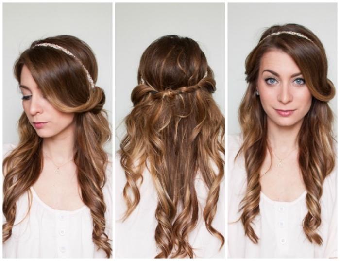 tuto coiffure simple et rapide, serre tête avec des cheveux emmêlés dedans, idée coiffure pour des cheveux longs bouclés