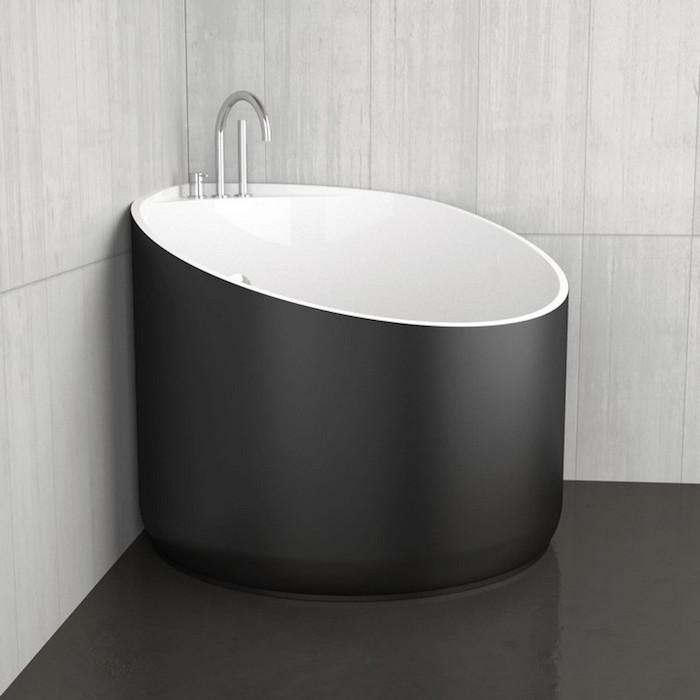 petit bac de baignoire rond design noir d'angle