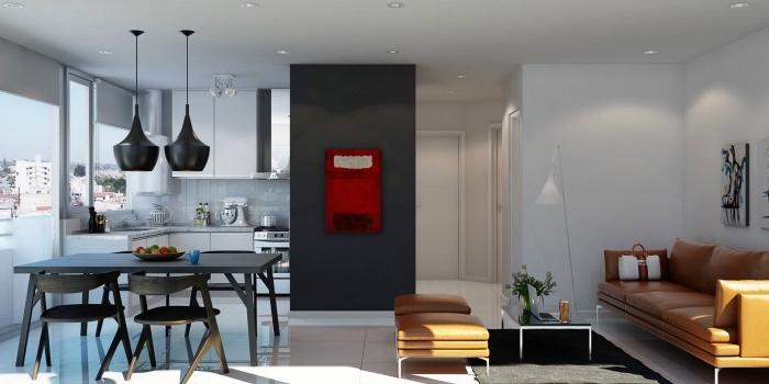 idée cuisine ouverte avec façade cuisine blanche, mur d accent gris, table et chaises gris anthracite avec deux suspensions noires, canap;e et tabourets en cuir orange, tapis gris anthracite, table basse
