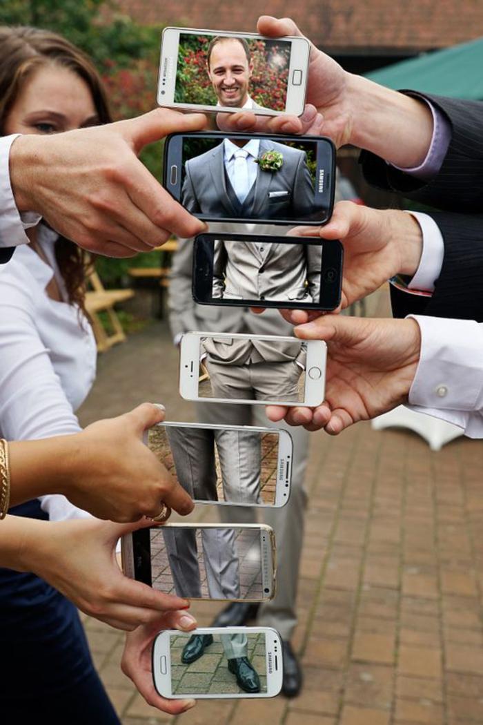 une séance photo amateur originale, un portrait de marié original réalisé avec des photos prise avec smartphone