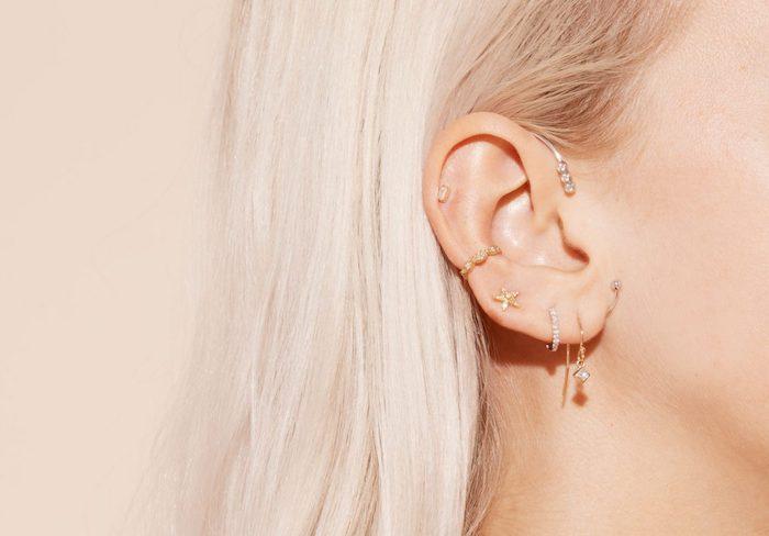 piercing oreille, bijoux femme, boucles d'oreilles petites, piercing délicat pour femme