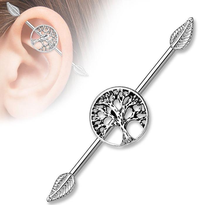 piercing femme, boucles d'oreilles pour femme, piercing industriel à motifs arbres