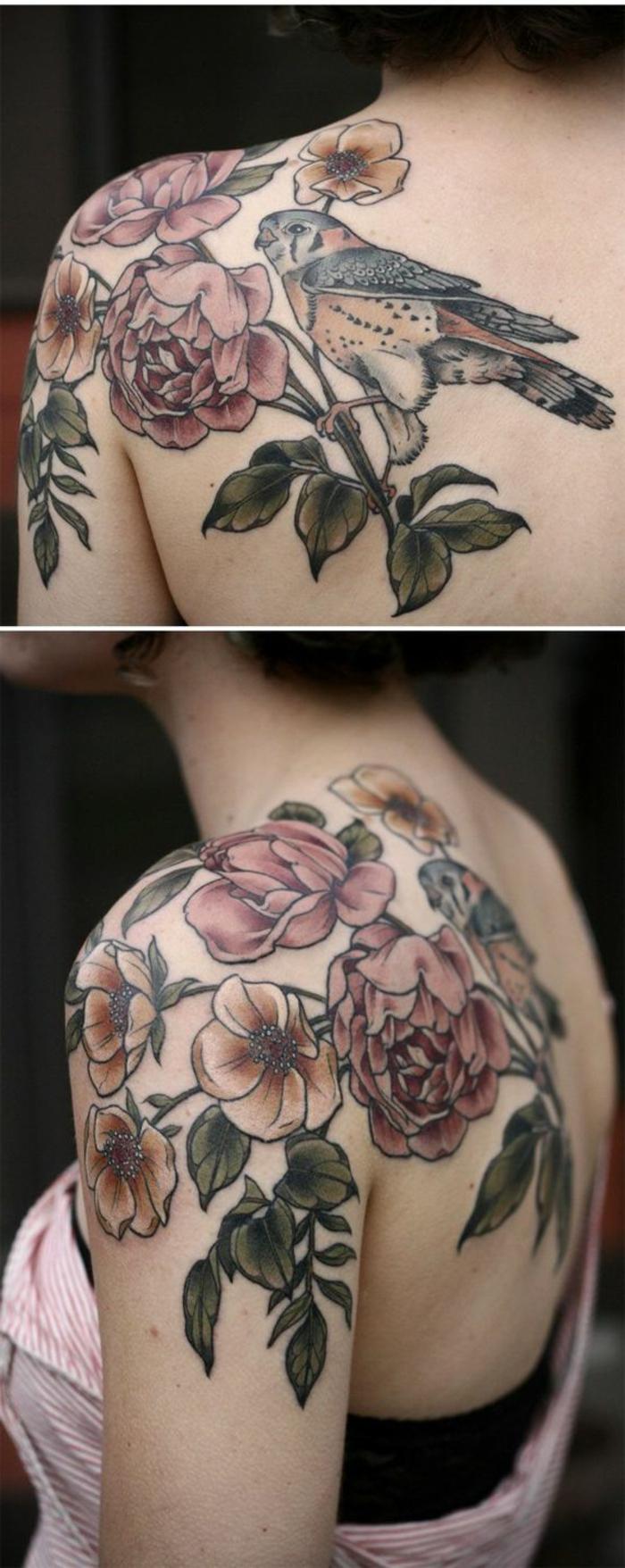 pivoine signification, branche pivoine avec oiseau perché, tatouage femme épaule