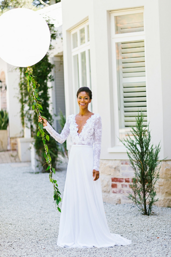 Robe moderne robe de mariée pas cher princesse la robe de mariée longue robe top dentelle avec manches