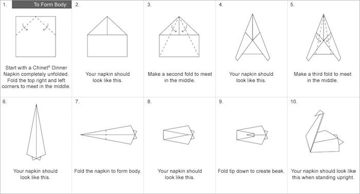 schéma de pliage origami, instruction pour créer une déco de table, origami avec serviette en papier