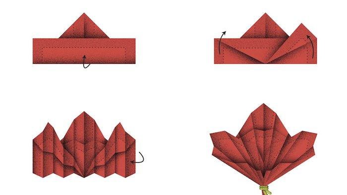 schéma avec illustrations, étapes à suivre pour plier une serviette origami, comment faire déco de table facile