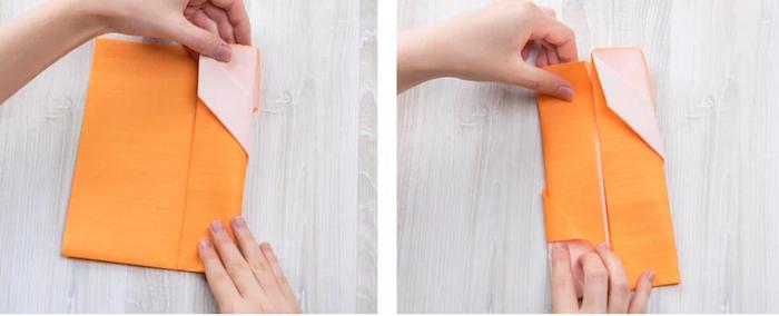 guide avec photos, instructions pour plier une serviette en papier, pliage origami pour déco table