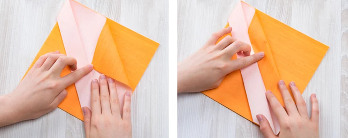 pas à pas pour plier serviette, instructions pour pliage serviette origami, technique origami avec serviette en papier