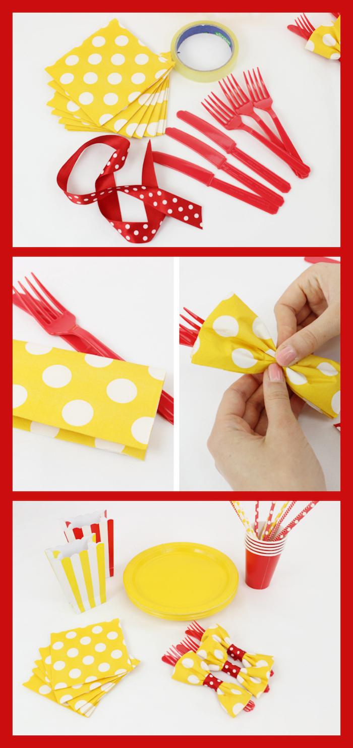 tuto pliage de serviette, fourchette et couteau en plastique rouge, assiette ronde en plastique jaune, activité manuelle pour femme