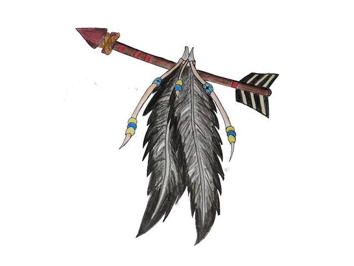 signification tatouage, dessin en couleurs motifs amérindiens, flèche avec plumes noir et gris