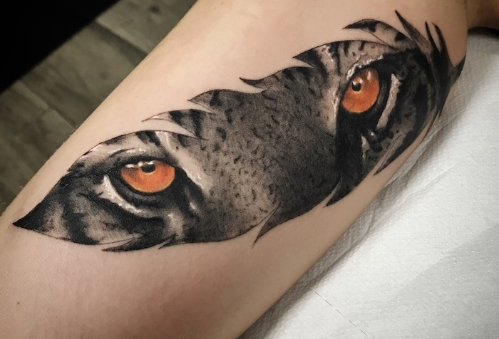 tatouage homme, dessin en encre sur la peau, tatouage à motif plume et yeux de tigre