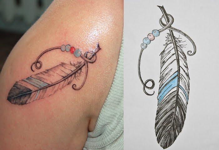 tatouage epaule, dessin en encre sur la peau, tatouage à motif plume avec perles