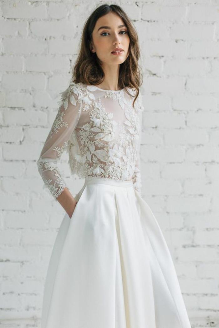 Chouette robe mariée moderne robe de mariée pas cher beauté top dentelle manches mi longs