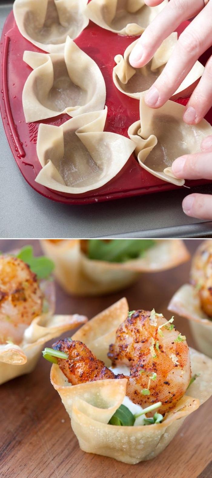 petits paniers de pate feuiletée avec de la crème aigre, crevettes, roquettes, seil et jus de citron, comment faire des tapas