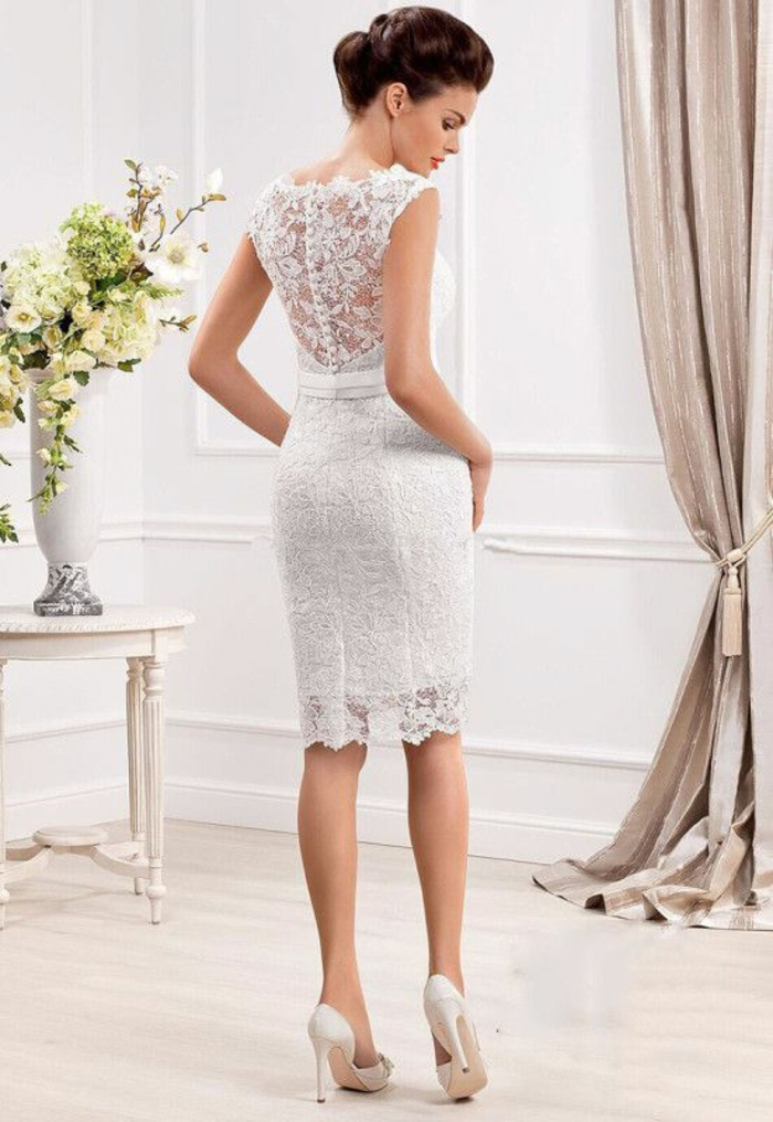 Noble robe de mariee sirene robe de mariée bohème chic mariage courte mariage civile dentelle robe