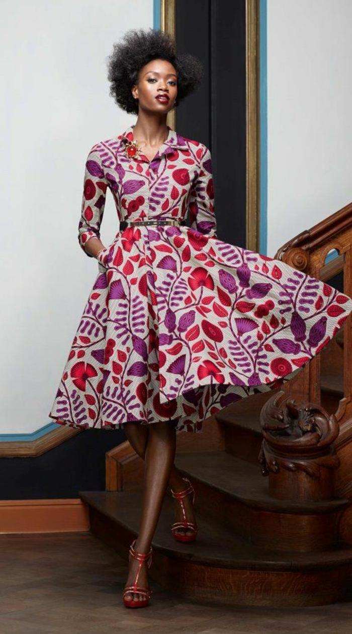 robe ethnique chic, motifs floraux, une robe style ethno chic, robe mi longue
