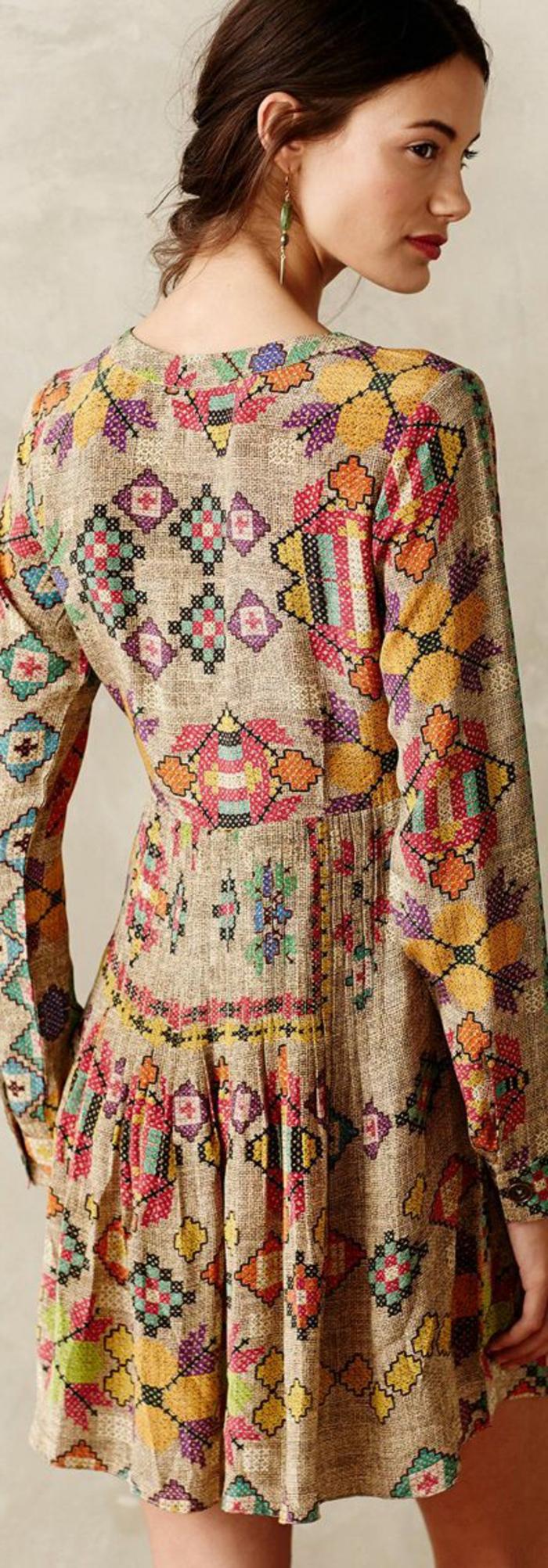 robe imprimée ethnique, robe style ethnique, matière naturelle, imprimés patterns géométriques