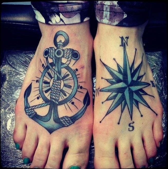 tatouage marin sur les pieds ancre marine boussole tatouage signification