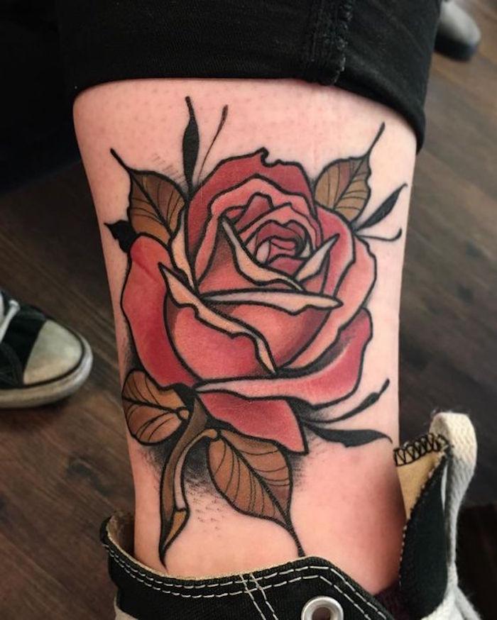 1001 id es tatouage rose un bouquet d 39 id es et 50 mod les. Black Bedroom Furniture Sets. Home Design Ideas