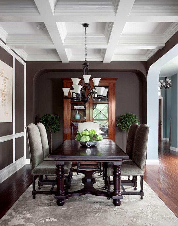 salle à manger couleur marron chocolat et plafond blanc