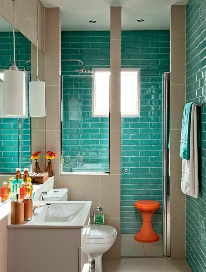 petit salle de bain en vert et beige briques vert océan et niche douche espace optimisé