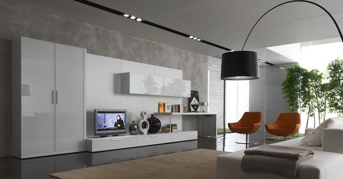 salon moderne et meubles blancs modernes sièges vintage orange