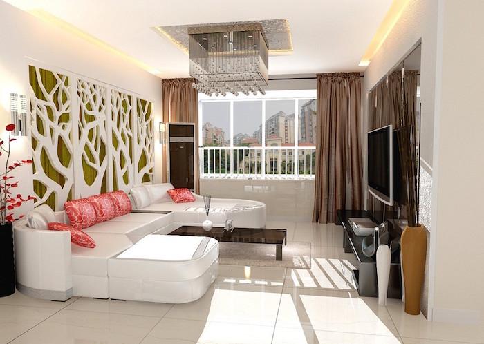 petit salon moderne avec deco mur et canapé design blanc