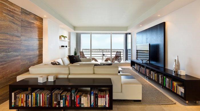 salon deco minimaliste moderne avec etagere kallax meuble vinyle