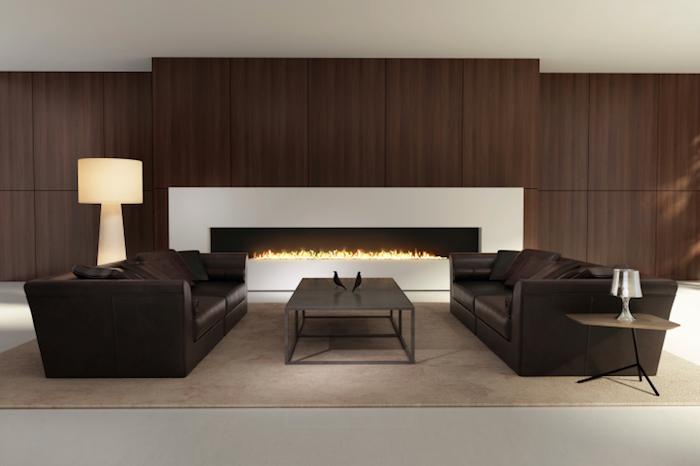 salon design couleur bistre marron avec canapés cuirs bruns et cheminée moderne grande