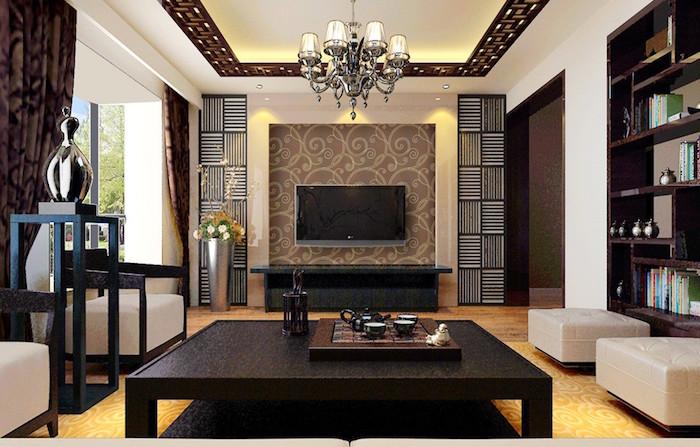 idée décoration salon design avec meubles marron foncé