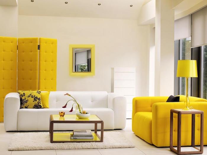 décoration design salon style vintage avec meubles vintage canapé jaune année 70