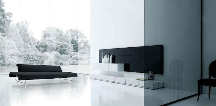 salon moderne scandinave minimaliste deco blanc noir