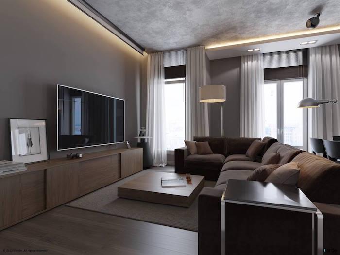 1001 id es d co et int rieur couleur bistre foncez for Interieur contemporain gris