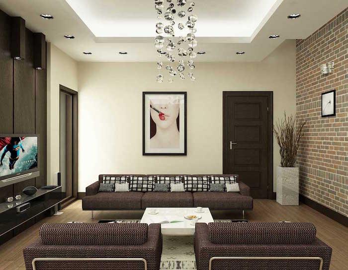 decoration petit salon moderne et meuble canapé vintage