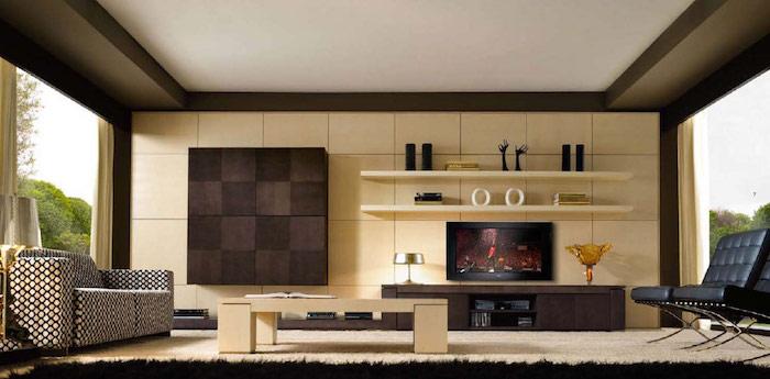 aménagement salon contemporain et idee deco design étagères murales beiges