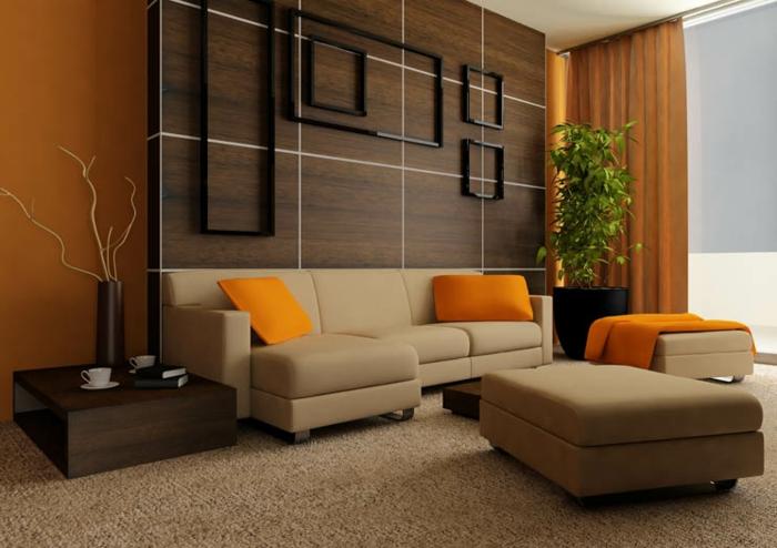 salo moderne, salon beige avec installation murale décorative, table basse japonaise