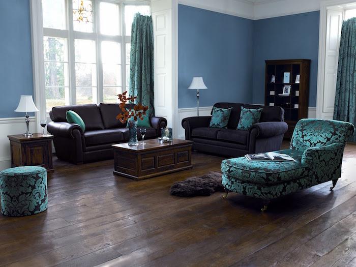 meubles couleur marron acajou accorder couleurs avec prune et turquoise