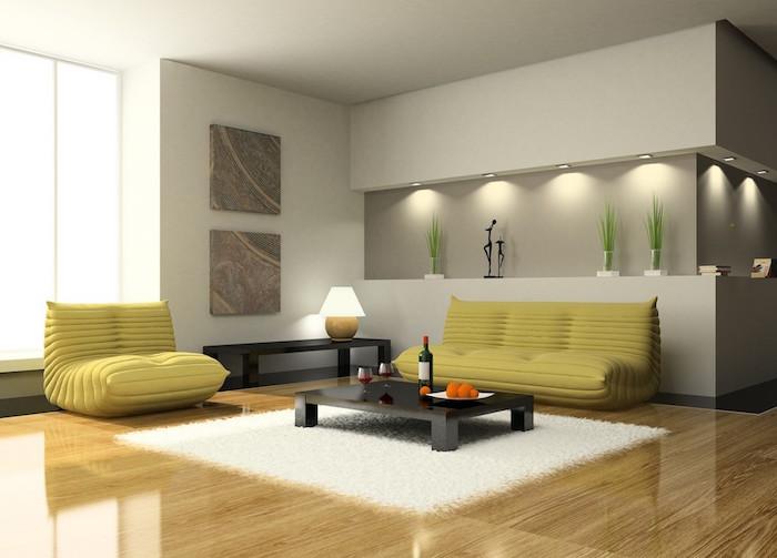 photo aménagement salon contemporain design minimaliste et meubles modernes fauteuils luxe