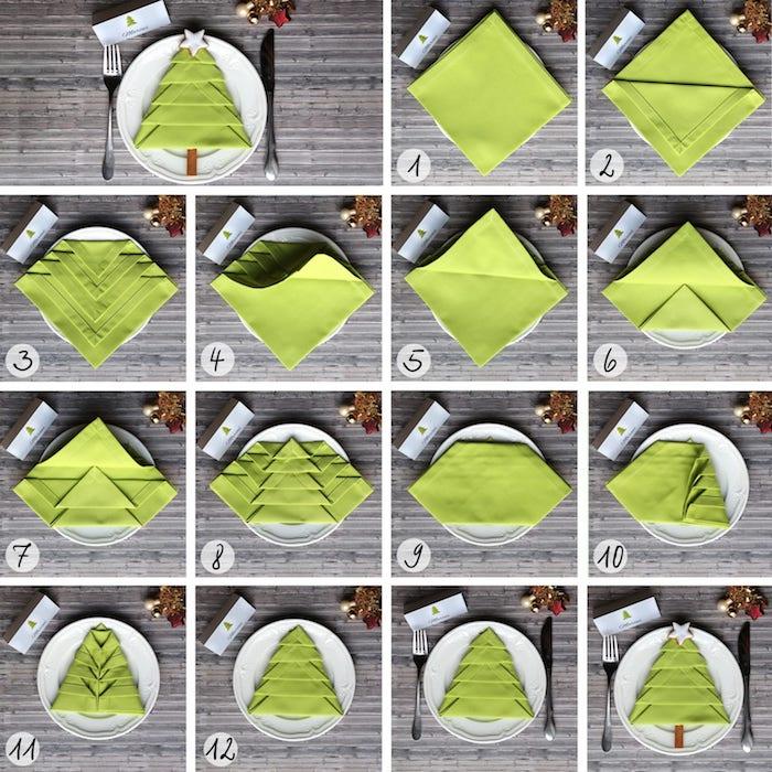 instructions pour créer une déco de table de Noel, pliage de serviette en tissu vert, guide avec photos