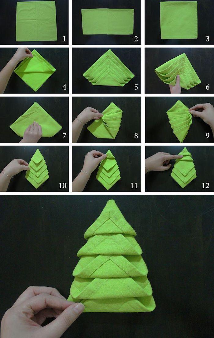 nappe de table en tissu vert, comment plier une serviette en forme de sapin, tutoriel avec photos