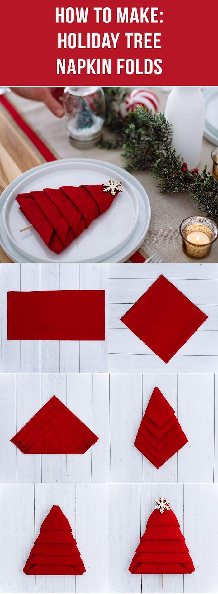 pliage de serviette, déco de table de Noël, sapin en serviette rouge, arrangement de table de noel
