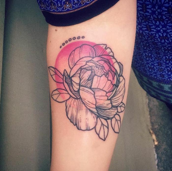 signification tatouage, tatouage symbolique du Japon, soleil levant et corolle pivoine