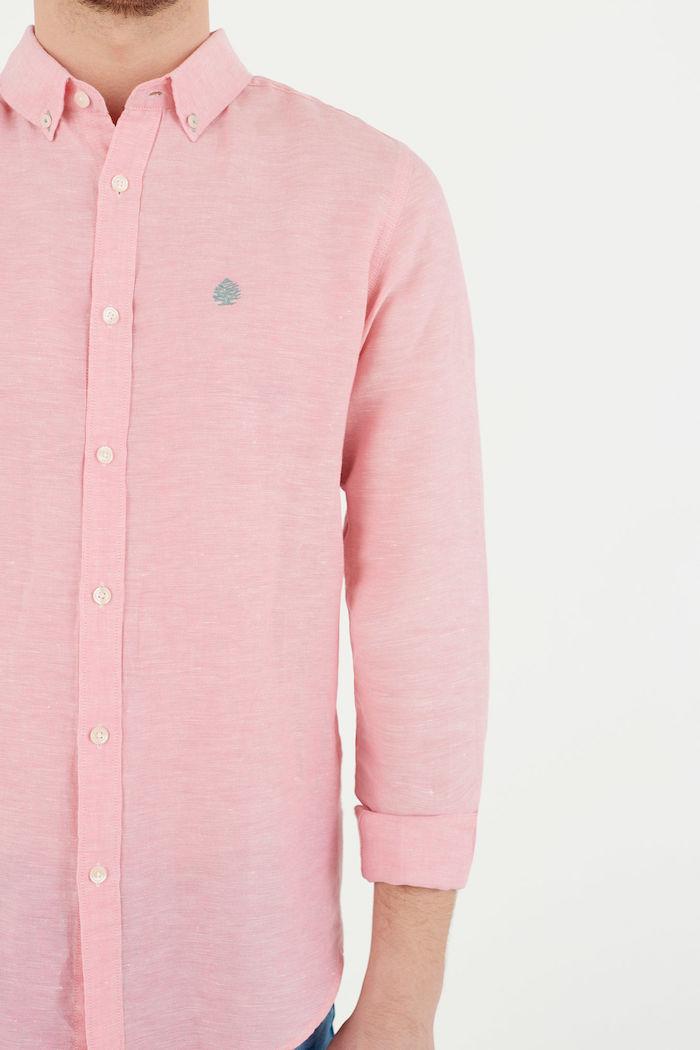 chemise homme rose springfield en coton lin manche longue