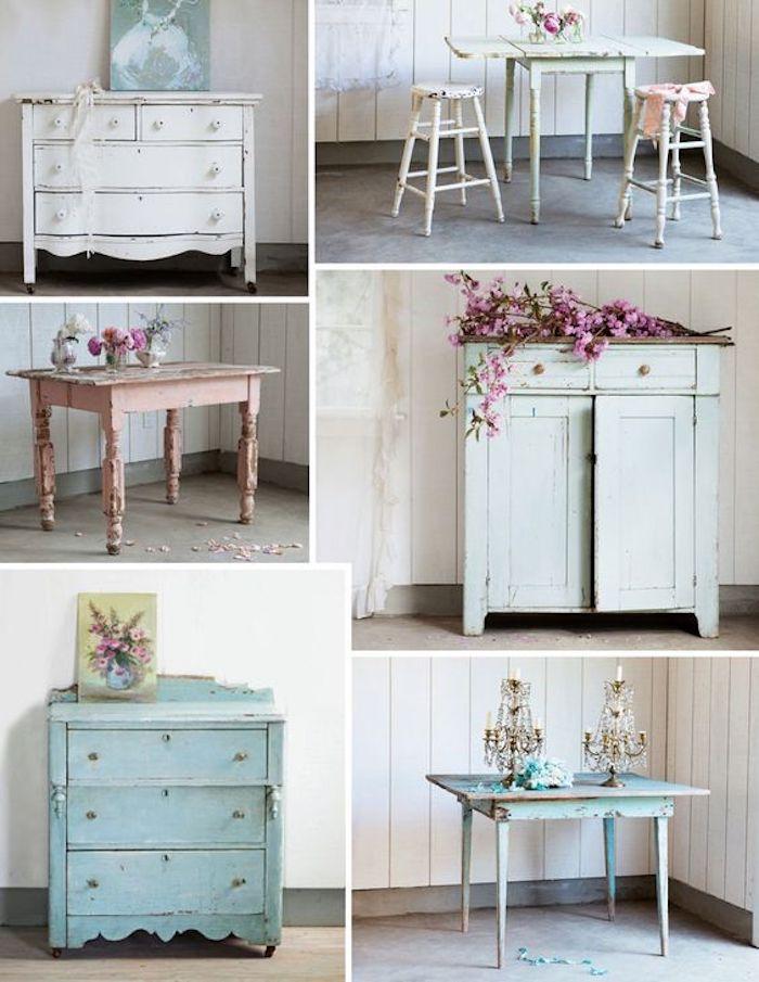 idée de meubles défraichies, tables e commodes couleurs pastels avec des decorations de fleurs et lustres, style shabby chic comment faire