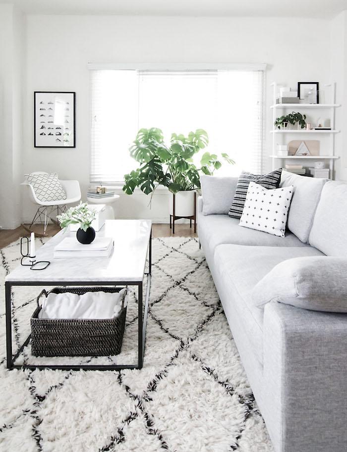 ambiance scandinave, parquet en bois clair, canapé en gris avec coussins décoratifs à motifs ethniques, plante verte, table rectangulaire en marbre